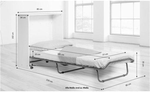 Składane łóżko z materacem, o wyglądzie komody
