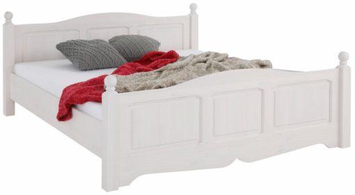 Białe łóżko z sosny 180x200 cm, pięknie zdobione