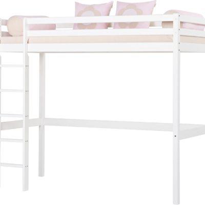 Białe wysokie łóżko dziecięce z drabinką, sosnowe