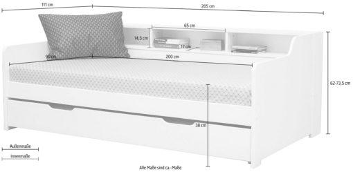 Łóżko z półką 90x200 cm, drewno olejowane + MDF
