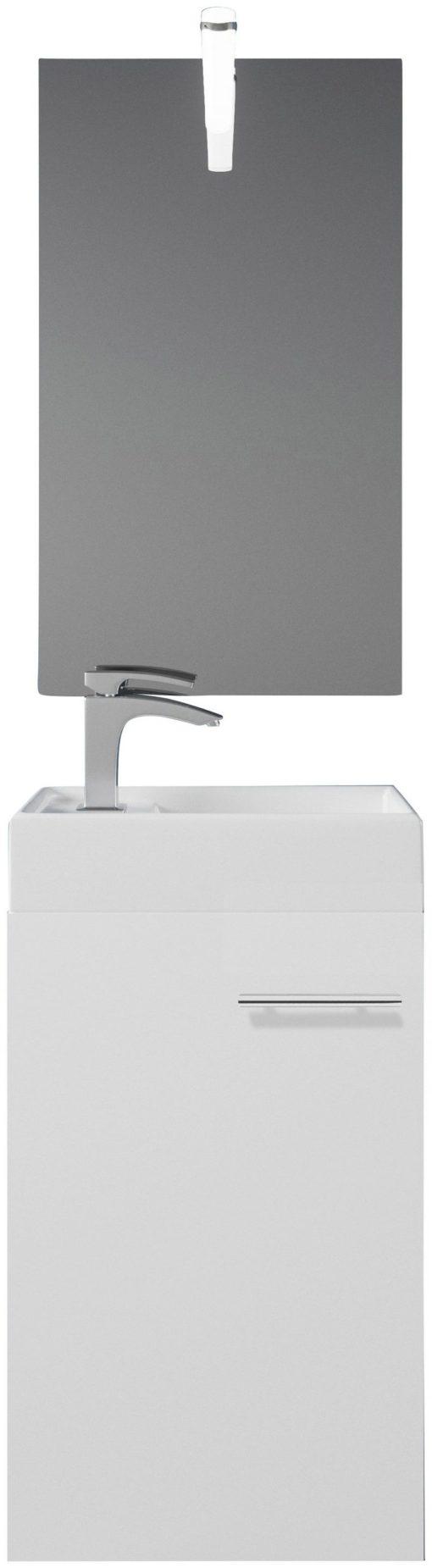 Białe meble do łazienki: lustro i szafka z umywalką