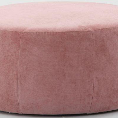 Okrągły, tapicerowany puff, pudrowy róż, 80 cm