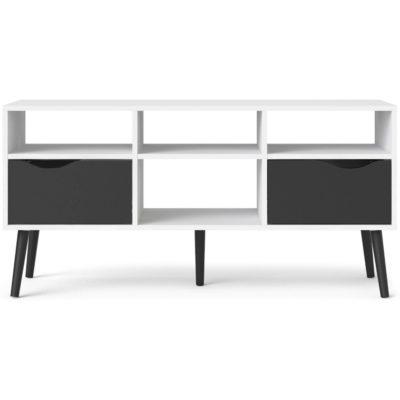 Biało-czarna szafka typu lowboard, w stylu retro