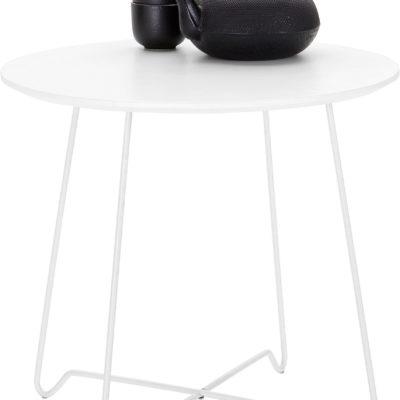 Okrągły, biały stolik w minimalistycznym stylu