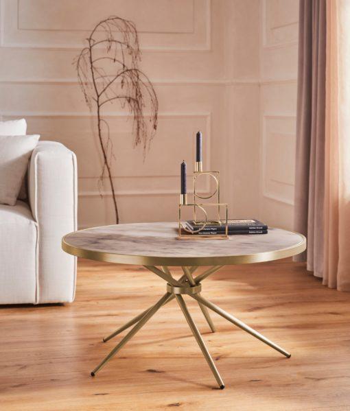 Ciekawy, złoty stolik o nowoczesnym designie, duży