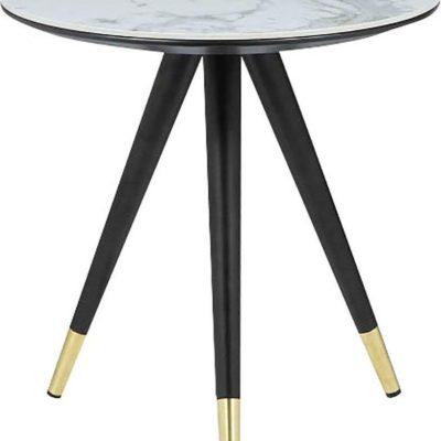 Okrągły stolik z ceramicznym blatem o wyglądzie marmuru