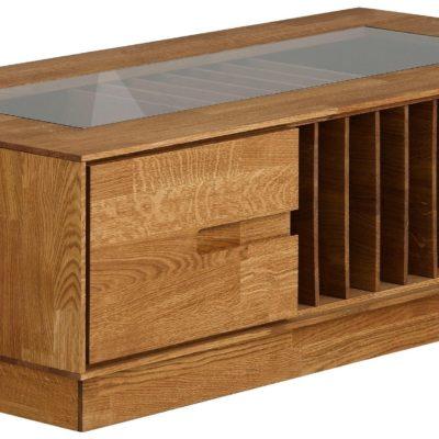 Dębowy stolik ze szklaną wstawką, nowoczesny styl