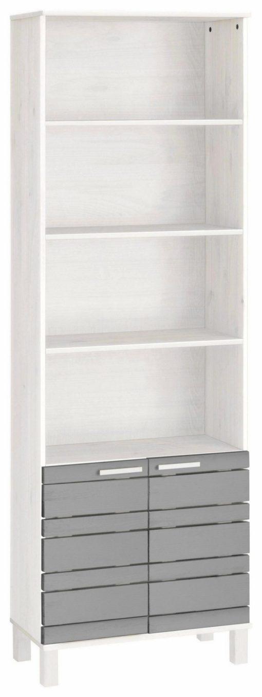 Wysoka szafka łazienkowa z sosny, biało-szara