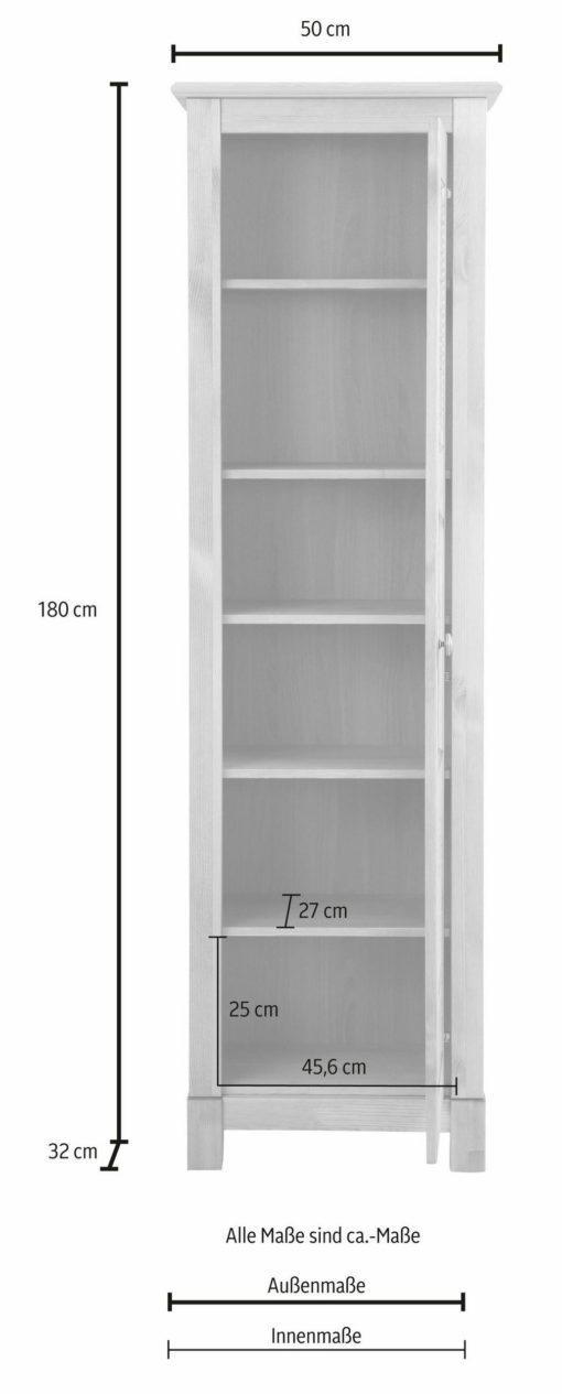 Witryna z przeszklonymi drzwiami i ozdobnymi frezami, biała
