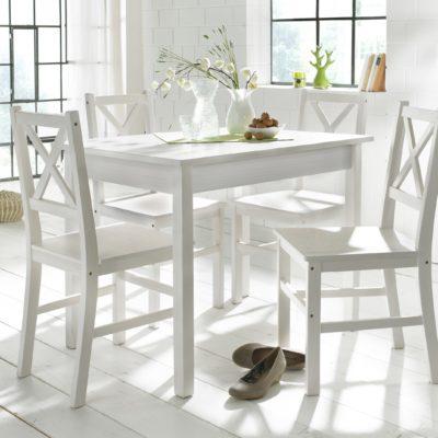 Sosnowy stół i 4 krzesła, biały zestaw do jadalni