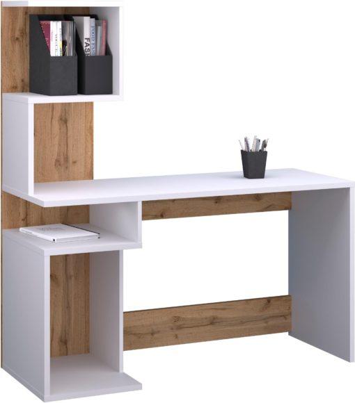 Funkcjonalne biurko w nowoczesnym stylu, biel-dąb