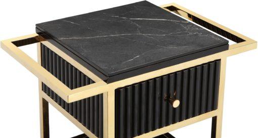 Ekskluzywny, czarny bufet ze złota ramą i kółkami