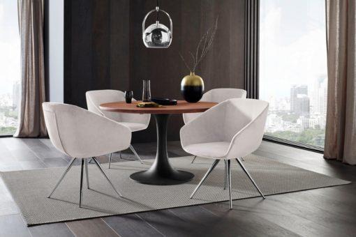 Krzesło w  nowoczesnym, skandynawskim stylu, kremowe