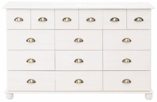 Sosnowa komoda z wieloma szufladami, biała