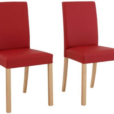 Klasyczne, czerwone krzesła, bukowe nogi - 4 sztuki