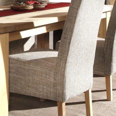 Krzesła tapicerowane, nogi bukowe, tkanina strukturalna - 4 sztuki