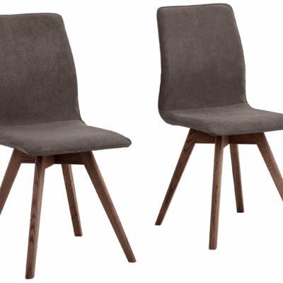 Nowoczesne krzesła brązowe, nogi orzech - 6 sztuk