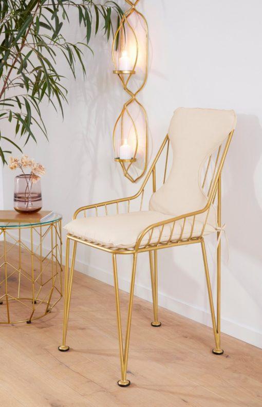 Metalowe, złote krzesła w nowoczesnym stylu - 2 sztuki