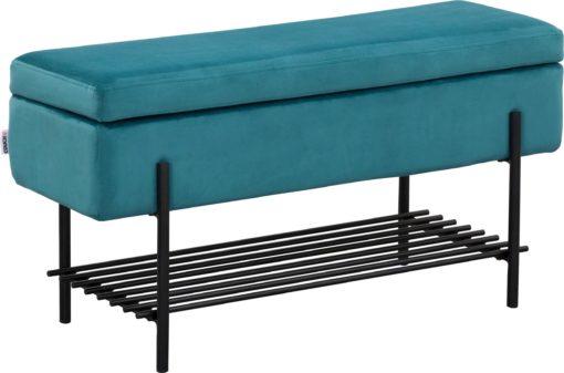 Tapicerowana ławka ze schowkiem i półką, 90 cm