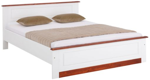 Sosnowe łóżko w rustykalnym stylu, biało-wiśniowe