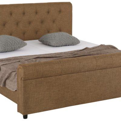 Atrakcyjne tapicerowane łóżko ze stylowym wezgłowiem, brązowe