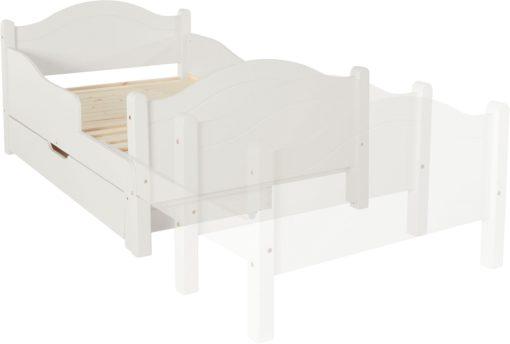 Białe łóżko rosnące z dzieckiem, z szufladą na pościel