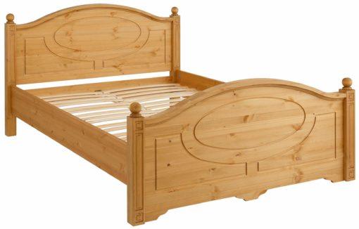 Sosnowe zdobione łóżko 140x200 cm, bardzo szykowne