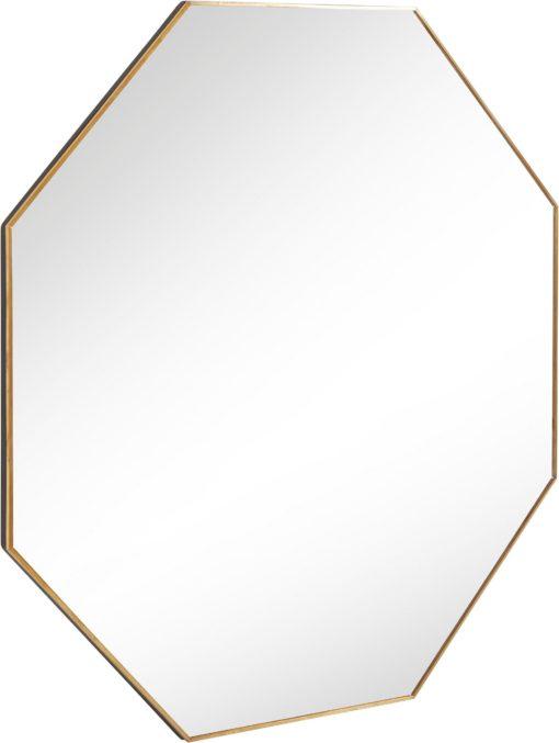 Lustro w kształcie ośmiokąta, złota metalowa rama