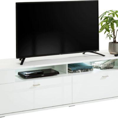 Biała szafka RTV w połysku, minimalistyczny design