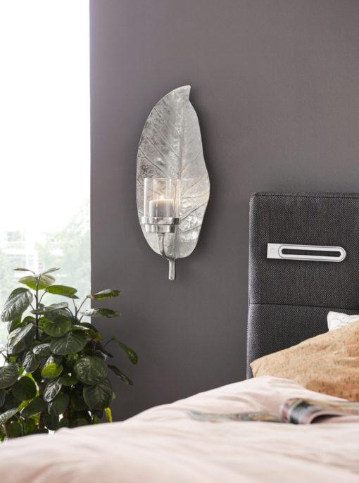 Ozdobny świecznik na ścianę z aluminium, kształt liścia