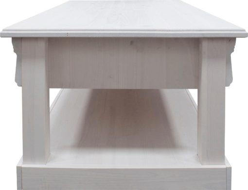 Piękny, biały stolik kawowy z szufladą, sosnowy