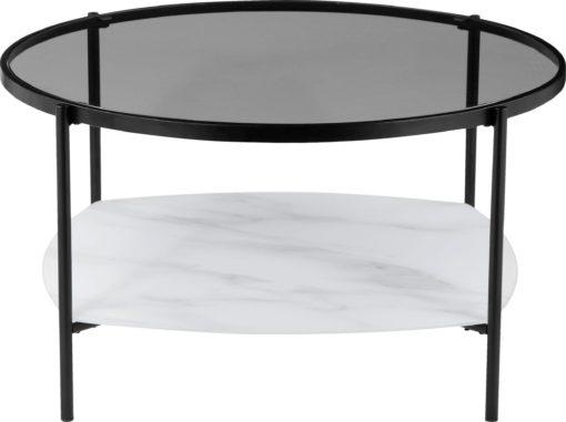 Stolik w skandynawskim stylu z marmurową półką, czarny