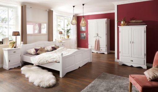 Dwudrzwiowa szafa sosnowa z półkami i szufladą, biała