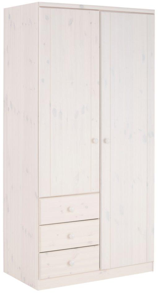 Piękna dwudrzwiowa szafa na ubrania , biała, sosnowa