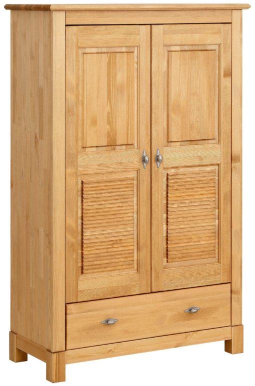 Sosnowa szafa dwudrzwiowa z szufladą, drobno frezowane fronty