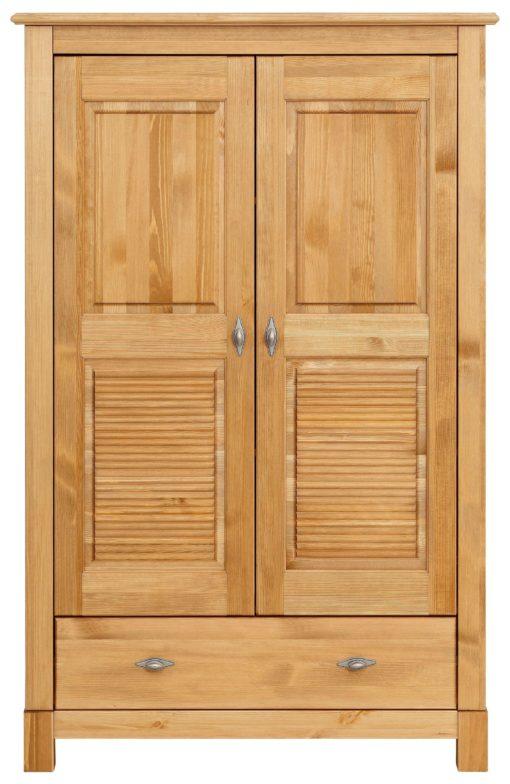 Sosnowa szafa dwudrzwiowa z szufladą, styl kolonialny