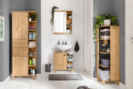 Sosnowa szafka pod umywalkę, nowoczesny wygląd, olejowana