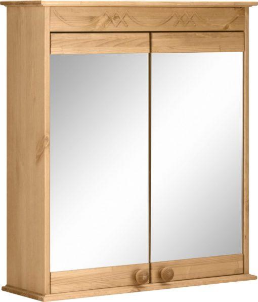 Sosnowa szafka wisząca z lustrem i atrakcyjnym frezowaniem