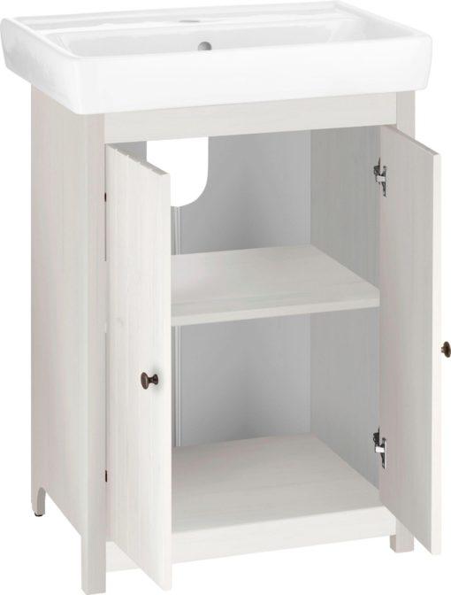 Biała szafka pod umywalkę, sosnowa z umywalką
