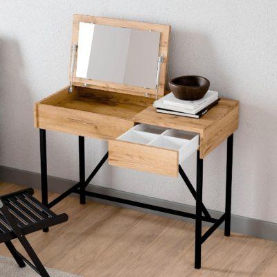 Toaletka/ biurko z lustrem i szufladą, industrialna