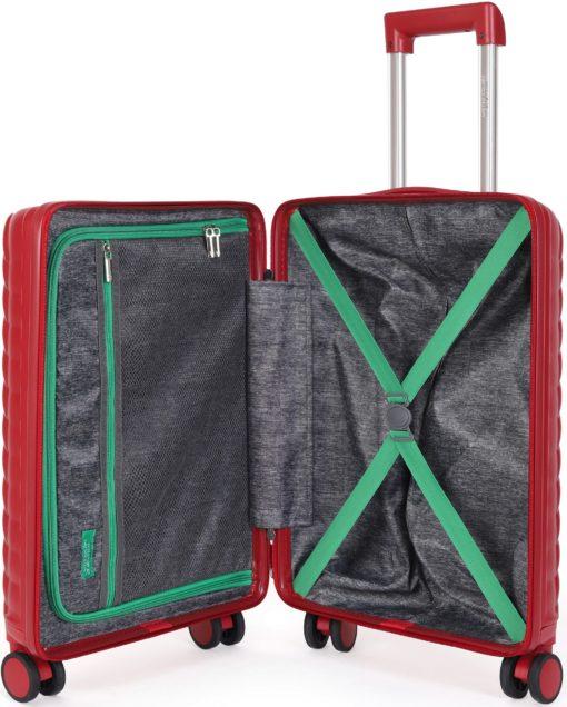 Twarda walizka United Colors of Benetton 55 cm, ciemnoczerwona
