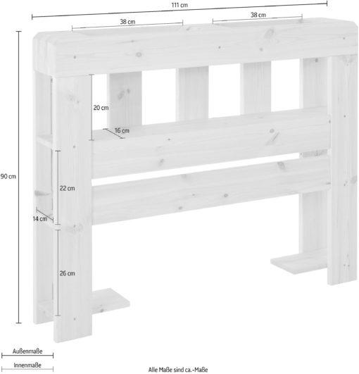 Sosnowy zagłówek do łóżka, z półkami, 111 cm