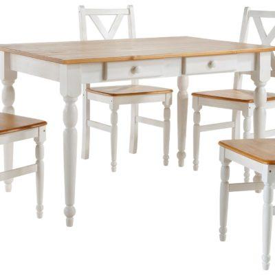 Zestaw do jadalni: sosnowy stół i 4 krzesła, biało-miodowy