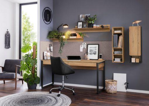 Biurko w industrialnym stylu dębowo-czarne, 2 szuflady