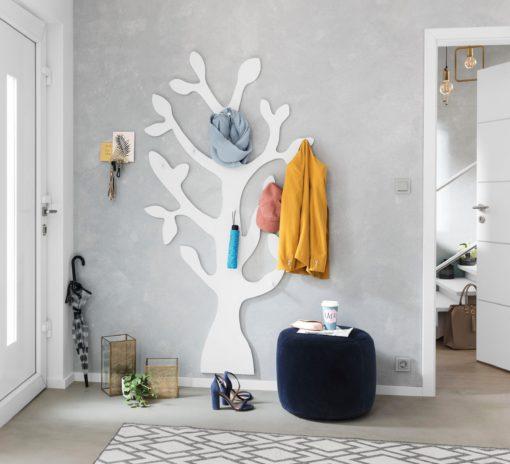 Modny wieszak ścienny w kształcie drzewa - biały
