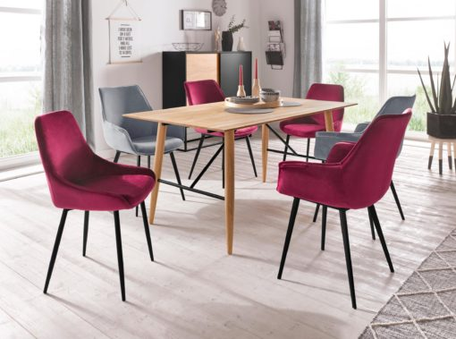 Tapicerowane, bordowe krzesła o wyrafinowanym designie - 2 sztuki