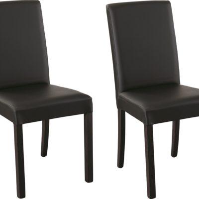 Stylowe czarne krzesła ze sztucznej skóry - 2 sztuki