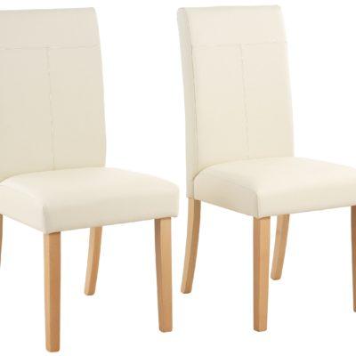 Smukłe, tapicerowane krzesła - 2 sztuki, kremowe