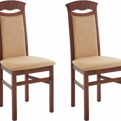 Piękne krzesła camelowe, rama wenge - 2 sztuki