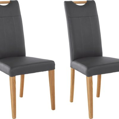 Szare krzesła z prawdziwej skóry, nogi dębowe - 2 sztuki